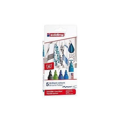 estuche-5-marcadores-textiles-edding-45005s-099-punta-redonda-resistente-al-lavado-trazo-2-3mm-colores-frios