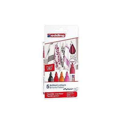 estuche-5-marcadores-textiles-edding-45005s-999-punta-redonda-resistente-al-lavado-trazo-2-3mm-colores-calidos