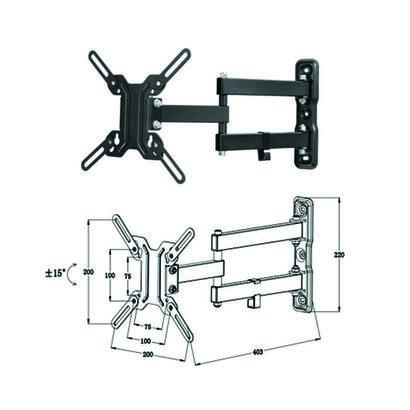 soporte-articulado-de-pared-para-tvmonitor-rotacion-180aa-hasta-4211-inclinacion-15aa-vesa-200x200-hasta-25kg-negro