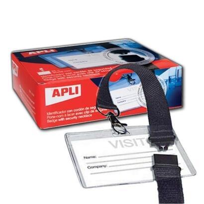 caja-de-25-unidades-de-identificadores-en-plastico-transparente-para-tarjetas-de-visita-con-cordon-de-seguridad90-x-56-mmapli