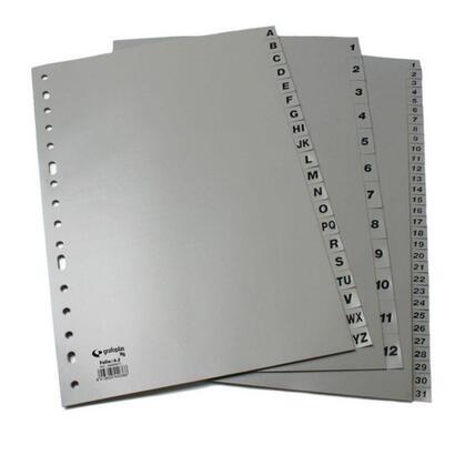 separador-alfabetico-folio-16-taladros-en-pp-gris-xs-25-unidades