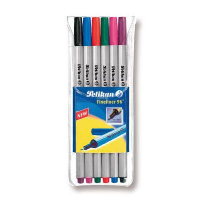 pelikan-940650-rotulador-de-punta-fina-negro-azul-verde-rosa-purpura-rojo-6-piezas