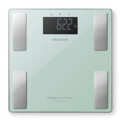 bascula-de-bano-taurus-syncro-glass-complet-capacidad-180kg-precision-100g-mide-porcentaje-grasa-y-agua-corporal-masa-muscular-y