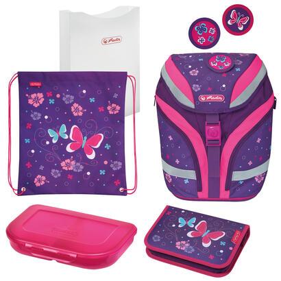 herlitz-softflex-plus-butterfly-juego-de-mochila-escolar-chica-poliester-rosa-purpura