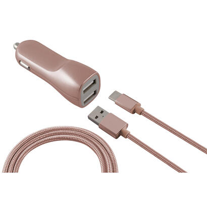ksix-cargador-de-coche-metalizado-2x-usb-21a-cable-micro-usb-rosa-dorado