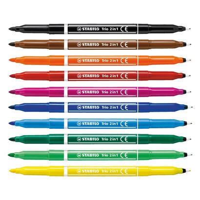 estuche-de-10-rotuladores-stabilo-trio-2-en-1-doble-punta-052mm-tinta-lavable-zona-sujecion-con-grip-triangular-colores-surtidos