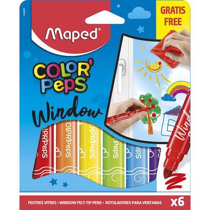 estuche-6-rotuladores-pano-para-borrar-maped-844820-window-utilizable-cualquier-superficie-vidrio-punta-ancha-conica-5mm
