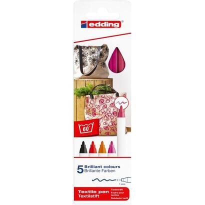 estuche-5-rotuladores-para-prendas-tela-edding-4600-5-s-999-apto-para-algunos-tejidos-mixtos-punta-de-fibra-grosor-1mm-colores-c