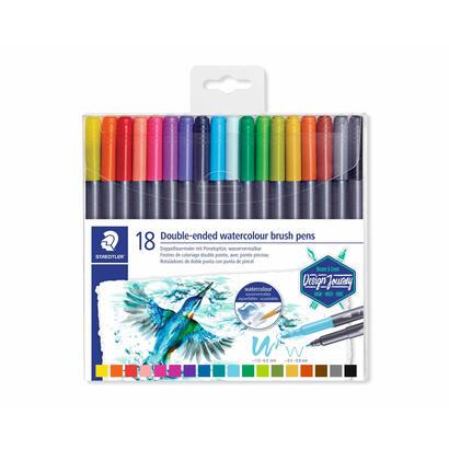 paquete-18-rotuladores-staedtler-marsgraphic-duo-doble-punta-rotuladorpincel-colores-surtidos
