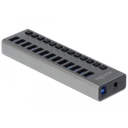 delock-63977-delock-hub-usb-30-con-13-puertos-conmutador-gris