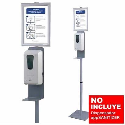 soporte-stand-plata-approx-stsanitizer01-para-dispensador-appsanitizer-300300ajustable-1300-1700mm-incluye-cartel-informativo