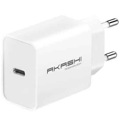 akashi-altacpd18wh-cargador-blanco-pared-3a-usb-c-18w-carga-rapida