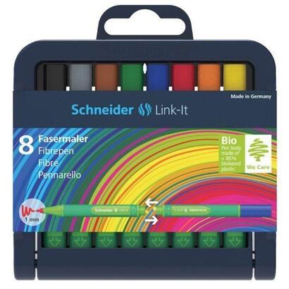 estuche-8-rotuladores-schneider-link-it-sh192098-trazo-escritura-1mm-cuerpo-triangular-ergonomico-colores-surtidos