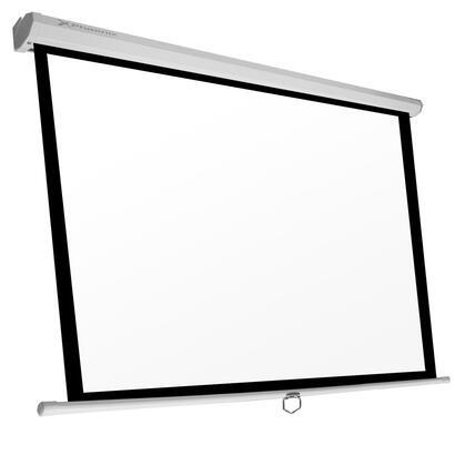 ocasion-phoenix-pantalla-manual-videoproyector-pared-y-techo-169-ratio-11-43-169-3m-x-3m-posicion-ajustable-carcasa-blanca-tela-