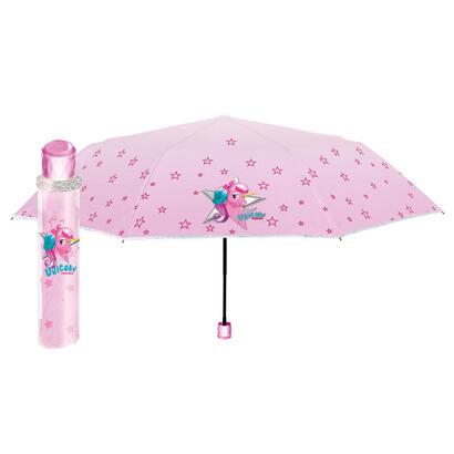 paraguas-plegable-manual-unicornio-rosa-50cm