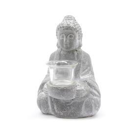 estatua-buda-de-hormigon-con-portavelas-de-cristal