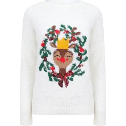 feliz-navidad-sueter-navideno-peludo-ciervo-crudo-mujer-talla-l