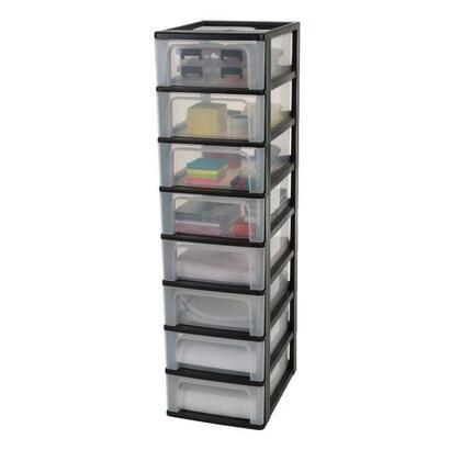 torre-de-almacenamiento-iris-ohyama-8-cajones-negro-y-transparente-56-l-355-x-26-x-96-cm