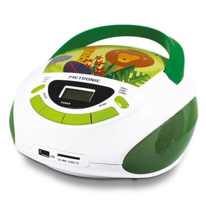 metronic-477144-radio-cd-para-ninos-jungle-style-verde-y-blanco