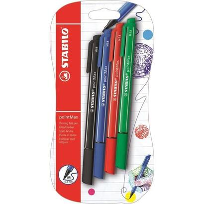 blister-x-4-rotuladores-stabilo-pointmax-negro-azul-rojo-verde