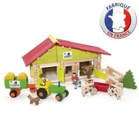 jeujura-cortijo-de-madera-con-tractor-y-animales-140-piezas