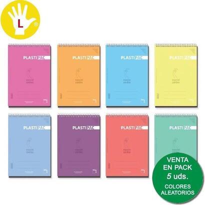 pacsa-block-plastipac-especial-zurdos-80-hojas-4x4-tapas-polipropileno-folio-90gr-colores-surtido-5u-