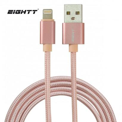 eightt-cable-usb-a-lightning-metal-flex-nilon-rosa-1m-trenzado