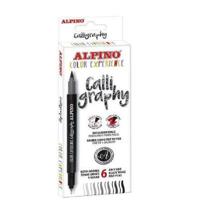 rotuladores-doble-punta-para-caligrafia-alpino-caligraphy-ar001040-6-unidades-negro-y-gris