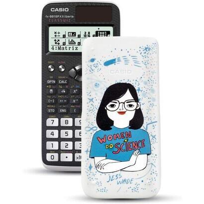 calculadora-cientifica-casio-classwiz-fx-991spx-iberia-ii-con-carcasa-ilustracion-jess-wade-blanca-y-negra