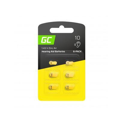 green-cell-6x-hearing-aid-battery-type-10-p10-pr70-zl4-zincair