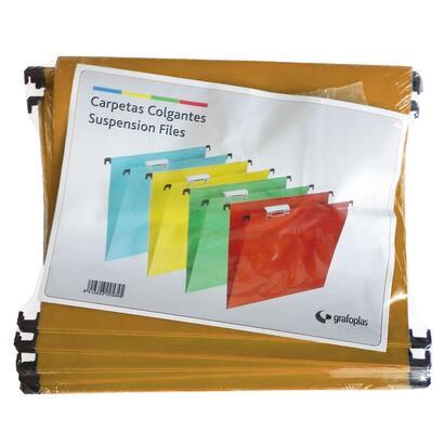 grafoplas-caja-50-unidades-carpeta-colgante-a4-kraft-con-visor-superior-corto-65mm-efecto-lupa