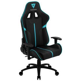thunderx3-silla-gamer-bc3bc-color-negro-con-detalles-en-azulcyan-asiento-reclinable-hidraulico-hasta-150kg-ruedas-de-65mm
