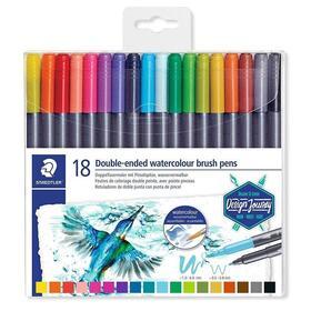 paquete-18-rotuladores-staedtler-3001-tb18-02-doble-punta-rotuladorpincel-colores-surtidos