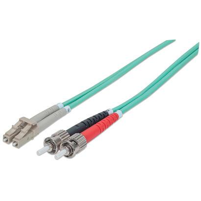 intellinet-751001-cable-de-fibra-optica-2-m-om3-st-lc-aqua