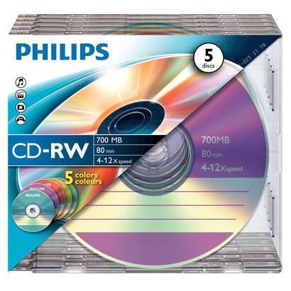 philips-cd-rw-700mb-5-pack-slim-case-colored-discs-4-12x