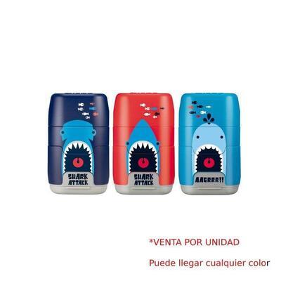 combinacion-de-goma-y-sacapuntas-milan-compact-shark-attack-colores-surtidos