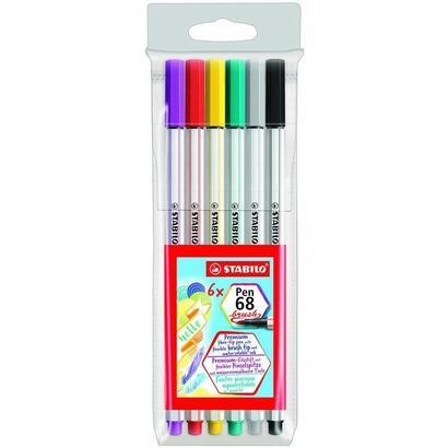 estuche-6-unidades-rotulador-stabilo-pen-68-brush-colores-negro-gris-verde-amarillo-rojo-lila