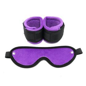 rimba-bondage-play-esposas-y-mascara-ajustables-color-purpura