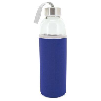 botella-de-cristal-con-funda-neopreno-club-nautico-z-9381-alba-azul-500ml-2256cm-asa-incorporada
