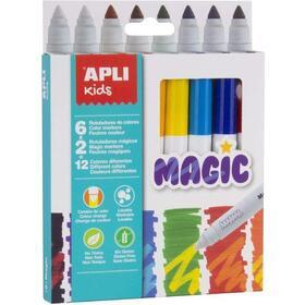 pack-8-rotuladores-magic-apli-kids-16808-punta-redonda-o75mm-cuerpo-cilindrico-lavables-tinta-larga-duracion-colores-surtidos