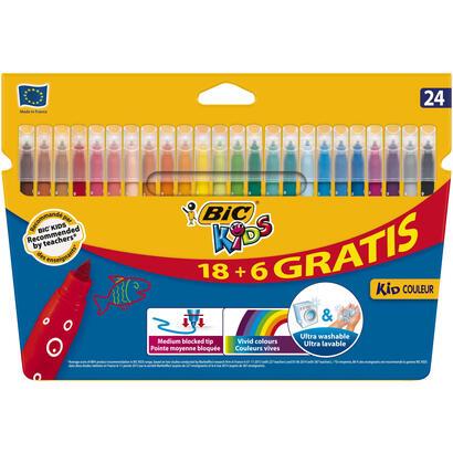 bic-kid-couleur-rotuladores-caja-24-base-agua-tinta-ultralavable-punta-28mm