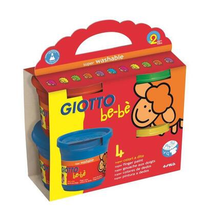 4-botes-super-pintura-a-dedos-giotto-bebe-para-los-mas-pequenos-super-lavables-de-la-piel-y-el-tejido-4x150g