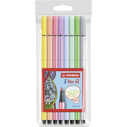 estuche-de-8-rotuladores-stabilo-pen-68-colores-pastel-punta-1mm-tinta-al-agua-acuarelable