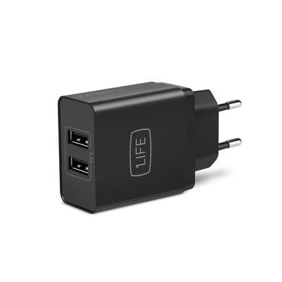 cargador-2xusb-casa-1life-negro-2x-usb-5v-24v-1ifepa2usb